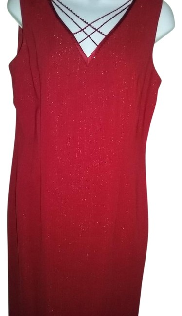 Preload https://img-static.tradesy.com/item/18885973/adrianna-papell-red-shinny-knee-length-night-out-dress-size-10-m-0-1-650-650.jpg