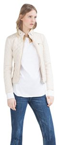 Zara Contrast Knit Quilted White Jacket