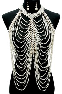 Elegant Multilayered Draped Pearls Body Chain Necklace And Earrings
