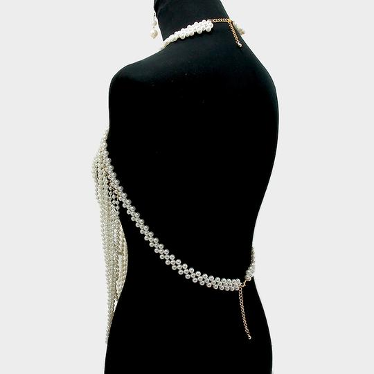 Other Elegant Multilayered Draped Pearls Body Chain Necklace And Earrings Image 1