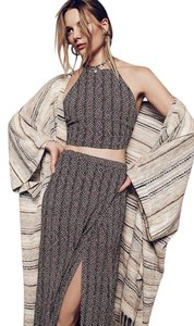 Free People Holly Striped Poncho-cardigan Cape