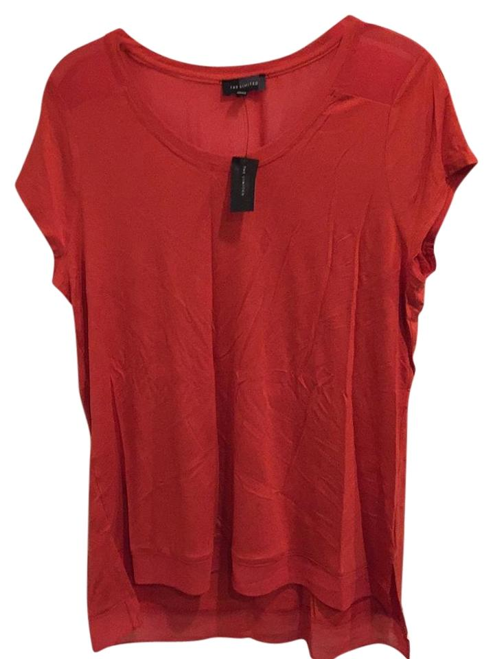 29cede2525d The Limited Red Sheer Fabric Trim Blouse Size 12 (L) - Tradesy