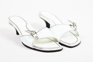 Tod's Tods Black Leather Top White Mules