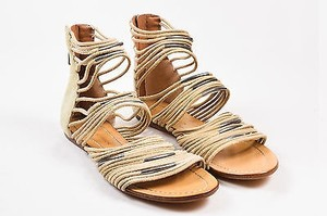 Sigerson Morrison Suede Leather Cord Strap Gladiator Flat Taupe Sandals
