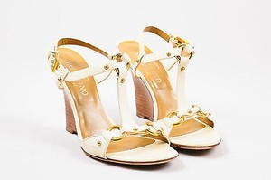 Valentino Garavani Gold Tone Leather Wooden Wedge Cream Sandals