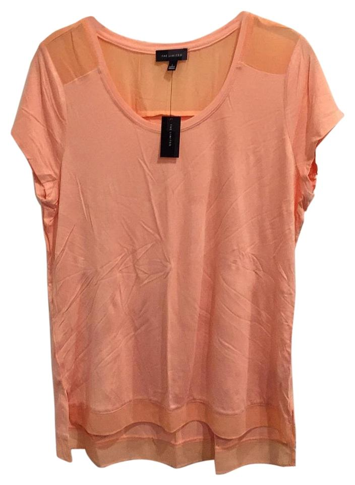 The Limited Pale Orange Light Orange Sheer Fabric Trim Top
