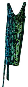 Diane von Furstenberg short dress Blue, Green, Navy, White Dvf Leopard Size 0 on Tradesy
