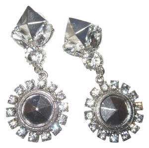 Erickson Beamon Helen of Troy Silver Crystal Drop Dangle Statement Earrings Bride