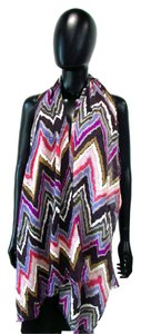Chico's Long Acrylic Multi Colored Chevron Print Scarf