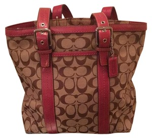 Coach Tote in Tan/Pink