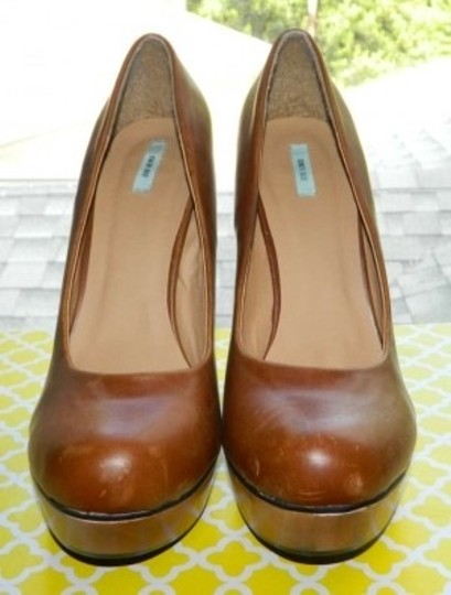 Kimchi Blue Wood Pump Brown Platforms
