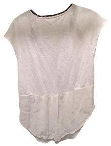Anthropologie T Shirt White with black stitching and gold design. Some yellow stiching