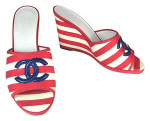 Chanel Red White Wedge Leather Cc Sandals