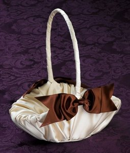 Satin Ivory And Chocolate Brown Flower Girl Basket