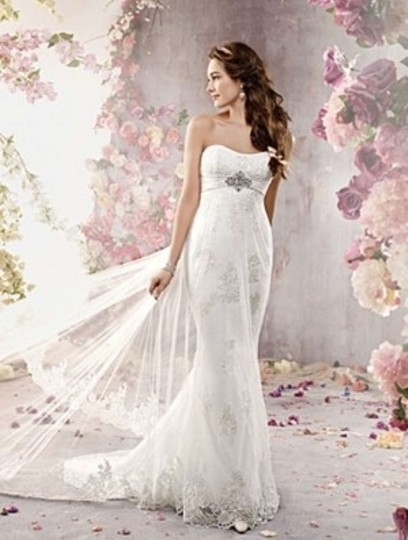 Alfred Angelo Ivory/Silver Soft Net 2378 Formal Wedding Dress Size 10 (M)