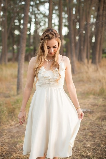 BHLDN Ivory Silk Couplet Casual Wedding Dress Size 12 (L) Image 2