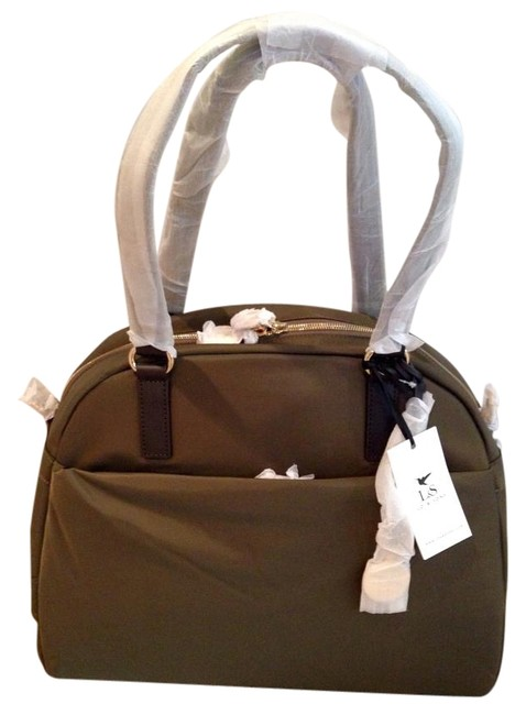 Item - O.m.g. Army Green Light Gold Hardware Camel Interior Canvas Weekend/Travel Bag