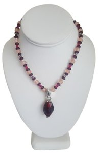 Carolee Pink and Burgundy Necklace with Silver Detailing