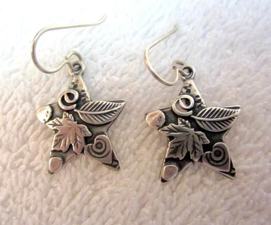 Roggio Roggio Star Sterling Silver Drop Dangle Earrings Carved Floral Signed Image 1
