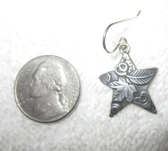 Roggio Roggio Star Sterling Silver Drop Dangle Earrings Carved Floral Signed Image 2