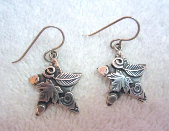 Roggio Roggio Star Sterling Silver Drop Dangle Earrings Carved Floral Signed Image 4