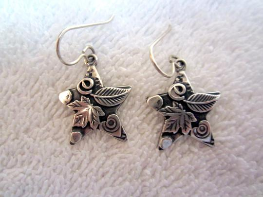 Roggio Roggio Star Sterling Silver Drop Dangle Earrings Carved Floral Signed Image 5