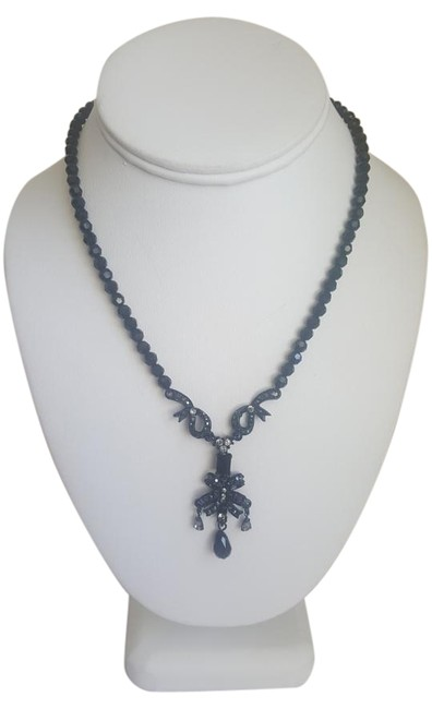 Black Stone with Bow Tie Pendant Necklace Black Stone with Bow Tie Pendant Necklace Image 1