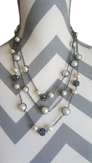 Coldwater Creek White Multi-strand Pearl with Holographic Stones Necklace Coldwater Creek White Multi-strand Pearl with Holographic Stones Necklace Image 1