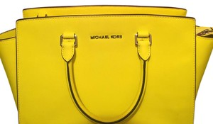 Michael Kors Selma Satchel in Pink and Neon Yellow