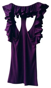 Robert Rodriguez Ruffle Ribbed Top Purple / Magenta