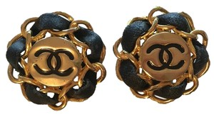 Chanel Vintage Gold Tone CC Leather Chain Earrings