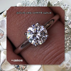 New Manmade 1.55ct Diamond Solid White Gold Solitaire Ring