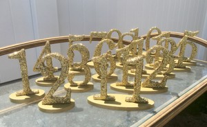 Gold Chunky Glitter Table Numbers (1-15)