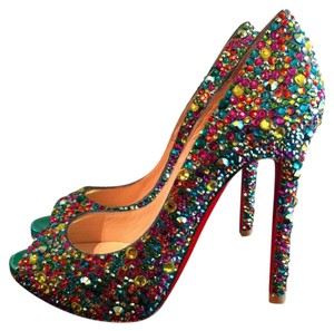 Christian Louboutin Crystal Luxury Studded Multi-Color Pumps