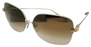 Chrome Hearts CHROME HEARTS Sunglasses SHAVED WP/GP White Pearl & Gold w/ Brown Fade