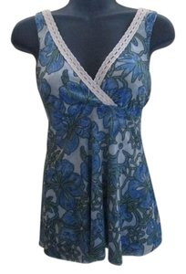 Sweet Pea by Stacy Frati Floral Mesh Stretchy Casual Top Blue