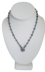 Carolee Carolee Blue Gray Diamond Pearl Necklace