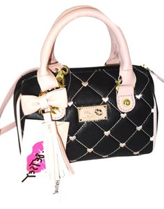 Betsey Johnson Mini Barrel Black Cross Body Bag