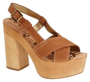 Sam Edelman Leather Suede Wooden Platform Saddle Platforms