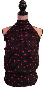 Maurices Sleeveless Ruffle Top Black / Red / Polka Dot