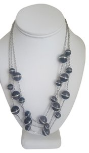 Coldwater Creek Black and Silver Sphere Multi-Strand Necklace