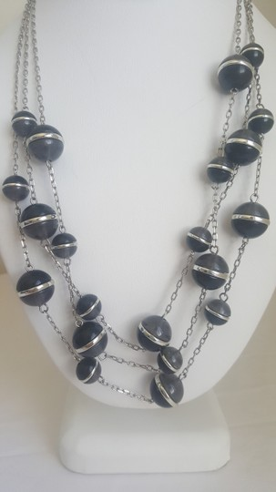 Coldwater Creek Black and Silver Sphere Multi-Strand Necklace Image 1