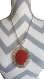 Chico's Red and Black Reversible Pendant Necklace
