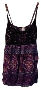 Free People Beaded Embroidered Strappy Boho Print Top Purple