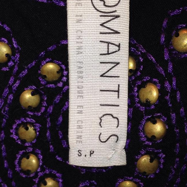 Free People Beaded Embroidered Strappy Boho Print Top Purple Image 3
