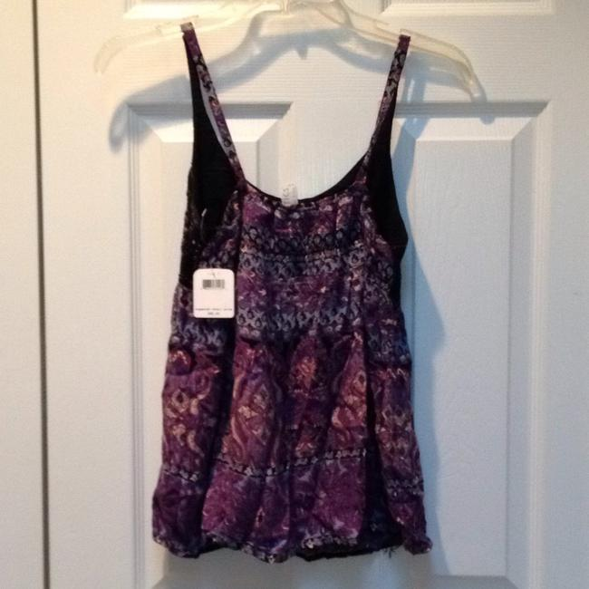 Free People Beaded Embroidered Strappy Boho Print Top Purple Image 5