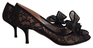 Valentino Lace Bow Black Pumps