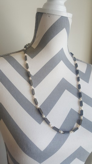 Other Black Rectangle and White Pearl Necklace Image 1