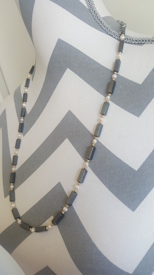 Other Black Rectangle and White Pearl Necklace Image 2