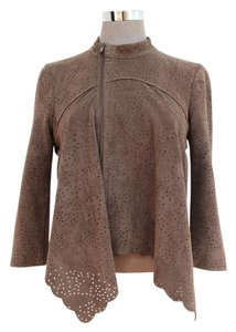 BCBGMAXAZRIA Scalloped Draped Faux Leather Fall Tan Jacket
